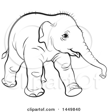 Clipart Graphic Of A Black And White Lineart Walking Baby Elephant.