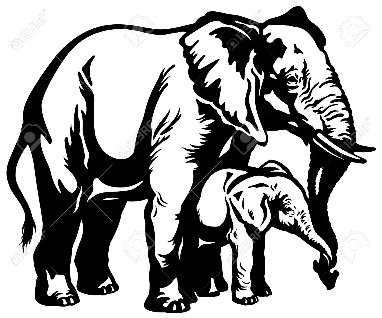 african elephant mother with baby black and white illustration.
