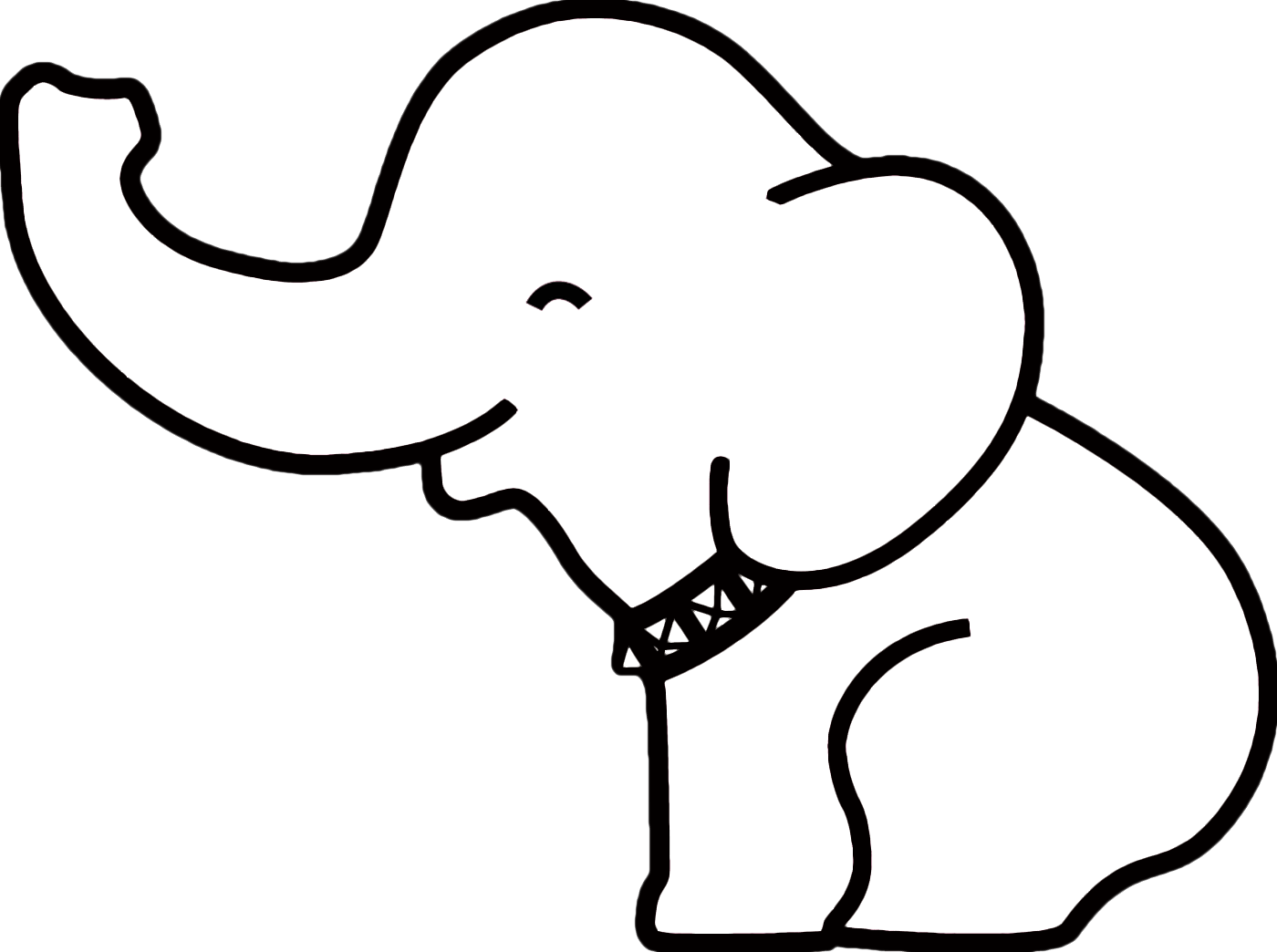 Baby Elephant Clipart Black And White.