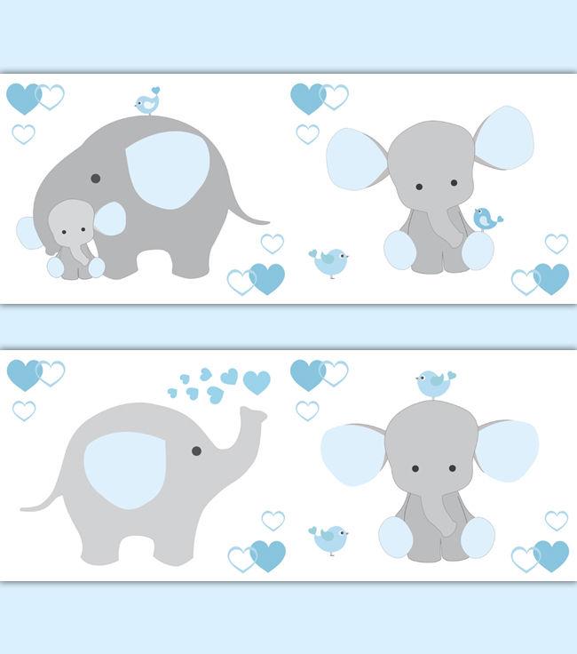Elephant Border Clip Art Blue Grey Gray El #271984.