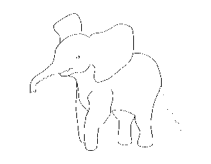 Clip Art: Baby Animals: Elephant Calf (coloring page).