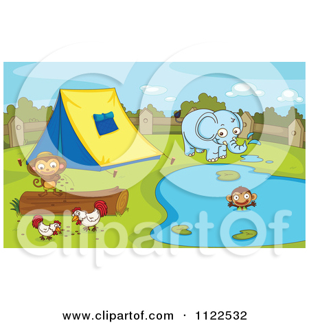Cartoon Of An Elephant Monkeys And Chickens At A Camp Site.