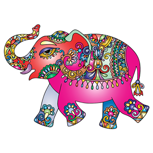Prismatic Playful Elephant clipart, cliparts of Prismatic Playful.