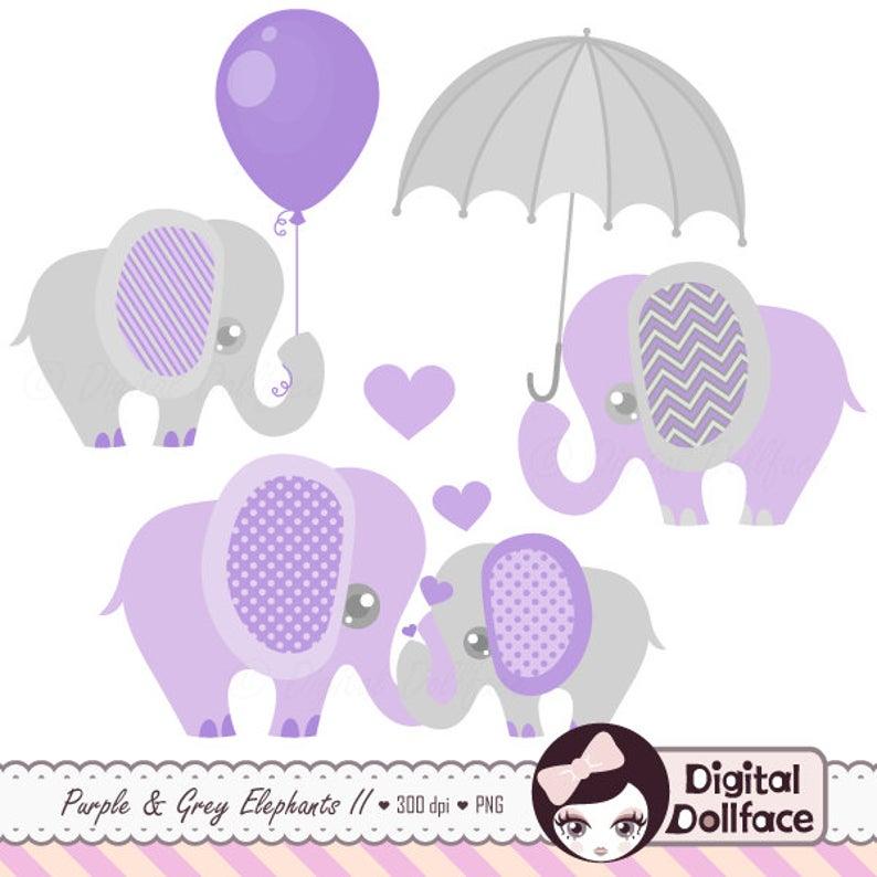 Purple and Grey, Baby Shower, Elephants Clipart, Digital Lavender Clip Art.