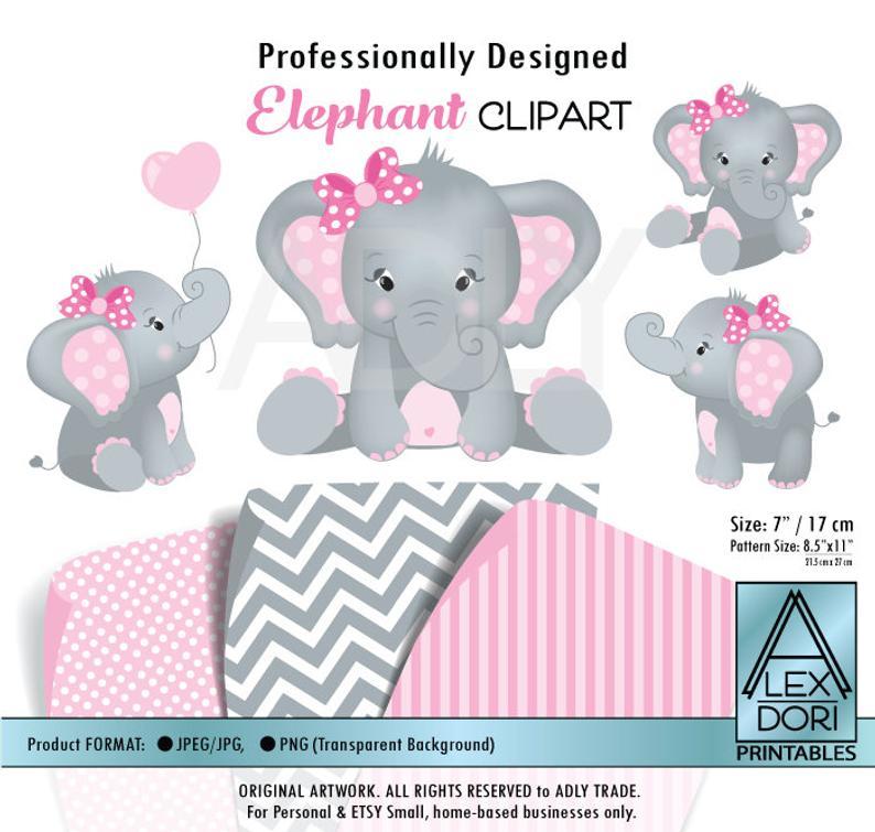 Girl Elephant shower, baby elephant, elephants clip art, png file, comm  use, baby shower, birthday, create t.