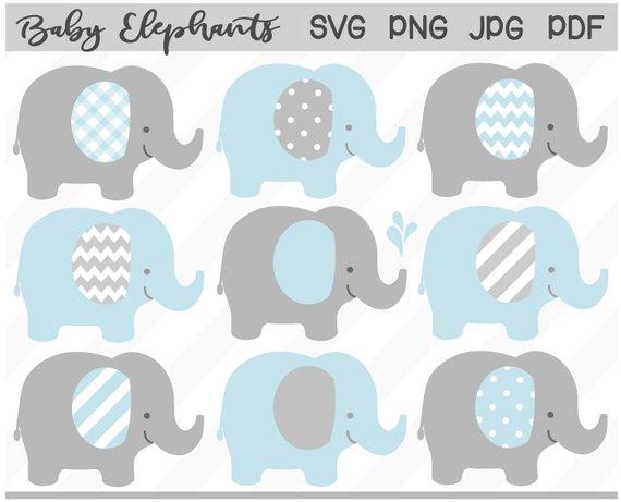 Grey Baby Elephant Clipart.