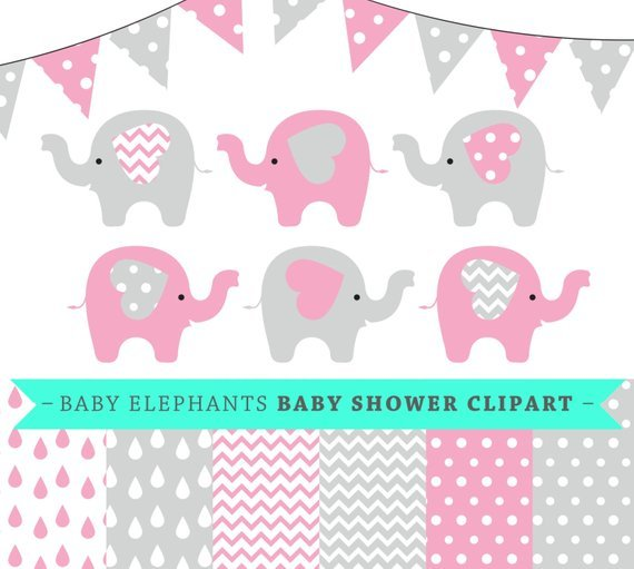 Printable Baby Shower Baby Elephant Clipart.