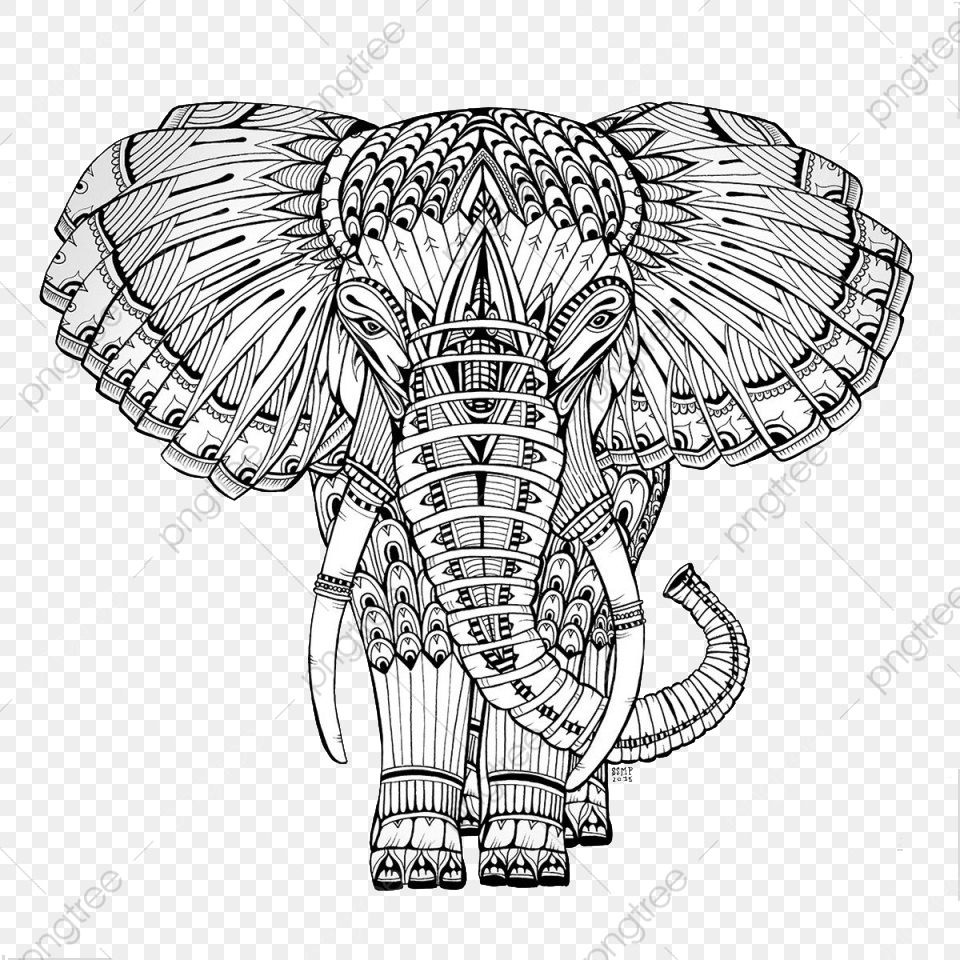 Black And White Pattern Stitching Elephant, Elephant Clipart, Black.