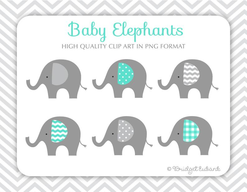 Elephant clipart, baby elephant clipart, baby shower clipart, teal  elephants, Commercial Use Clip Art, 6 PNG Images, INSTANT DOWNLOAD.