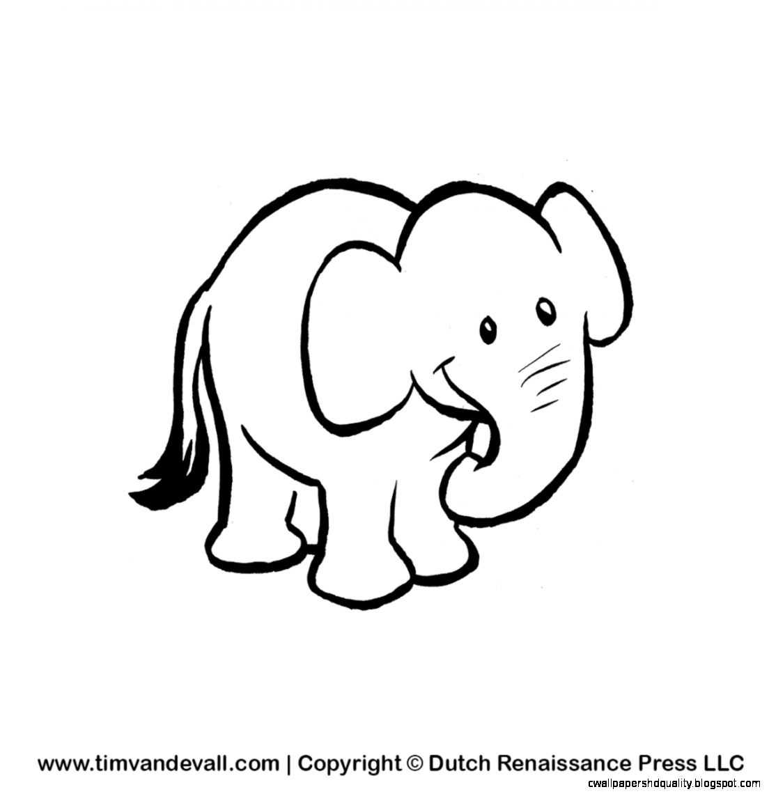 Black And White Baby Elephant Clipart.