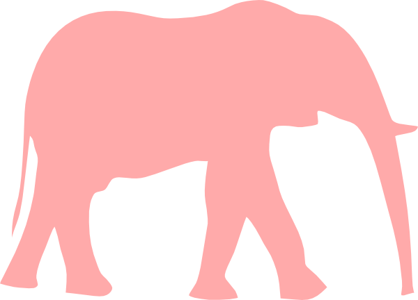 Pink elephant with hearts clipart.