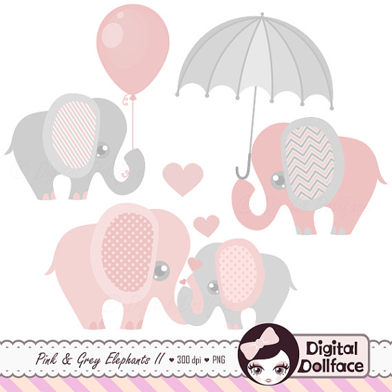 Pink and Grey Elephant Clip Art, Elephant Baby Shower Graphics.