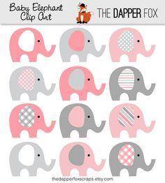 Little Pink Elephant Clip Art.