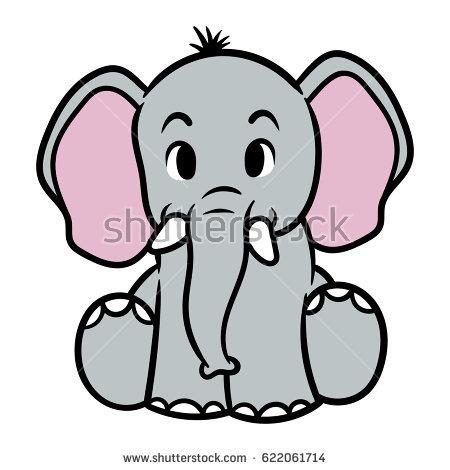 Elephant Cartoon Drawing.
