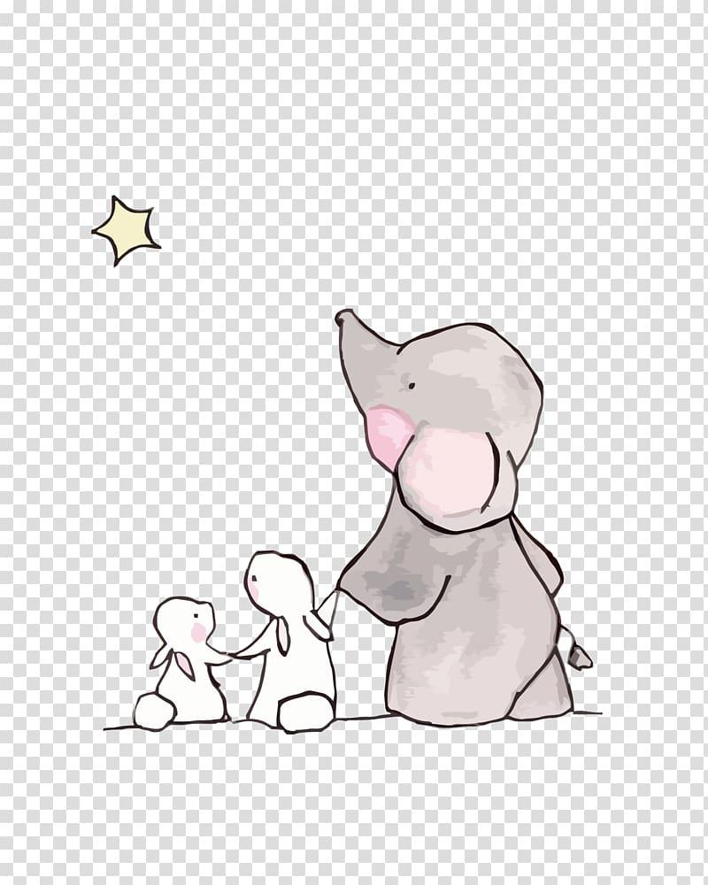 Elephant Rabbit Drawing Child, cute elephant and rabbit, elephant.