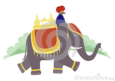 Elephant Riding India Stock Illustrations.
