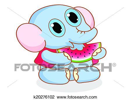 Cute cartoon elephant eating Clipart.