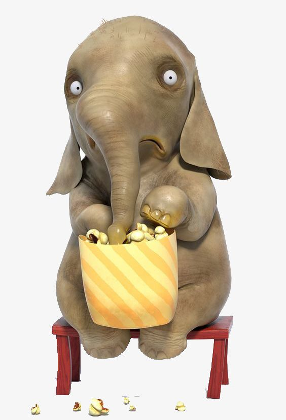 Baby Elephant Eating Popcorn PNG, Clipart, Animal, Baby Clipart.
