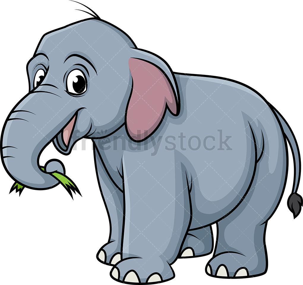 Elephant Eating Grass.
