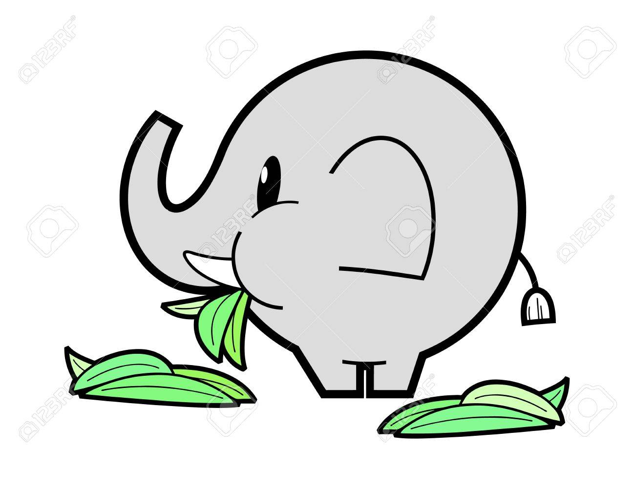 Elephant eating green grass.