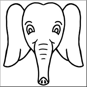 Clip Art: Cartoon Animal Faces: Elephant B&W I abcteach.com.