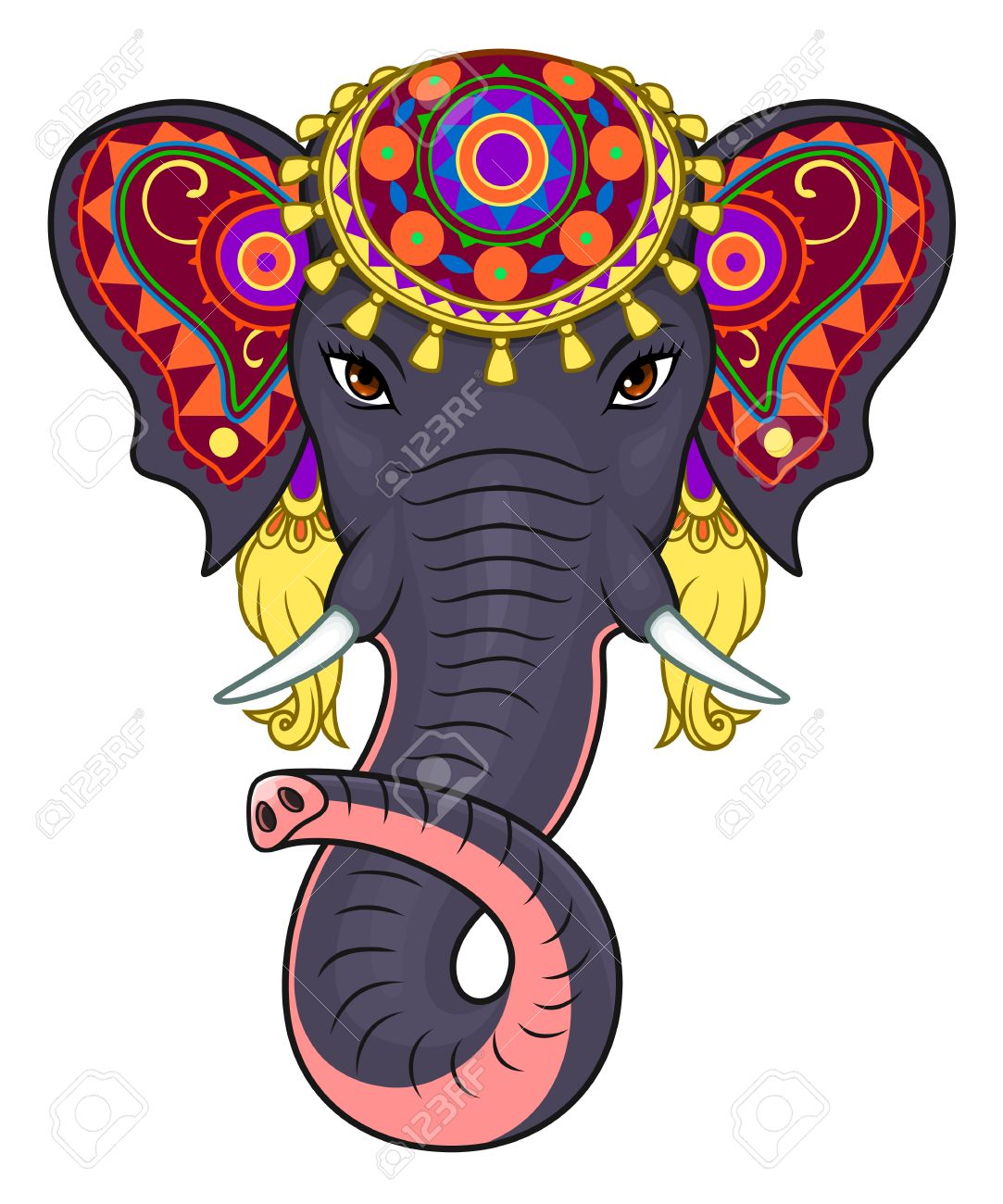Indian Elephant Face Royalty Free Cliparts, Vectors, And Stock.