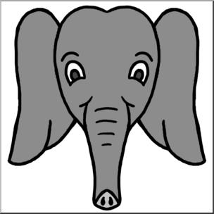 Clip Art: Cartoon Animal Faces: Elephant Grayscale I abcteach.com.