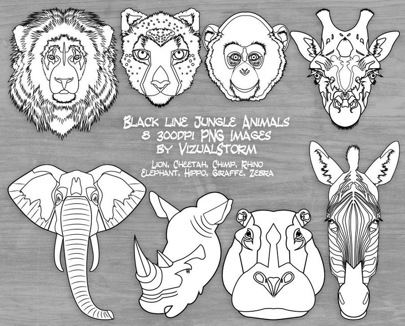 Black and White Safari Animal Face Clipart Jungle Animal Head Outlines for  Coloring Lion Cheetah Monkey Elephant Giraffe Rhino Hippo Zebra.