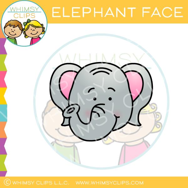 Elephant Face Clip Art.