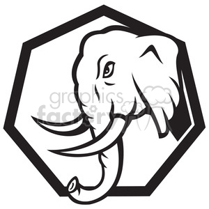 black white elephant head side charge walk clipart. Royalty.