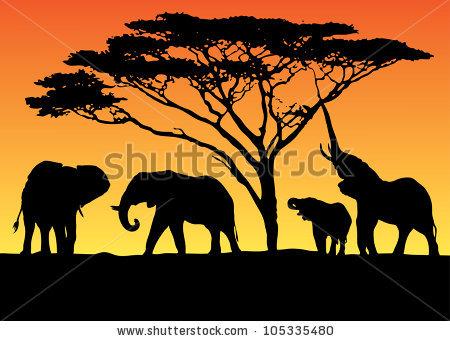 Elephant Herd Clipart.