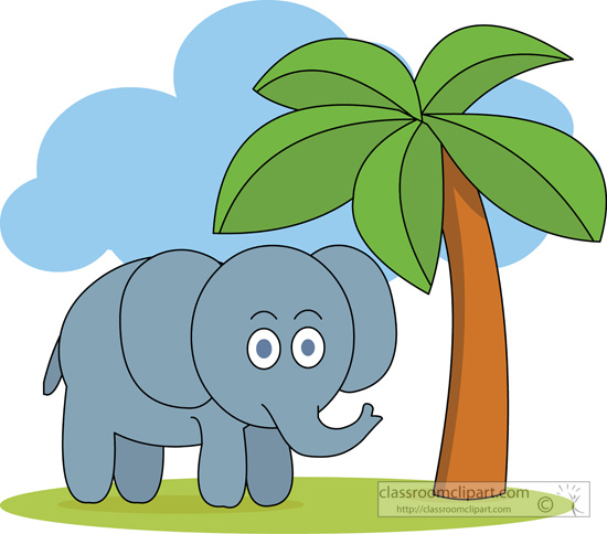 Elephant Clipart : cute_elephant_under_tree : Classroom Clipart.