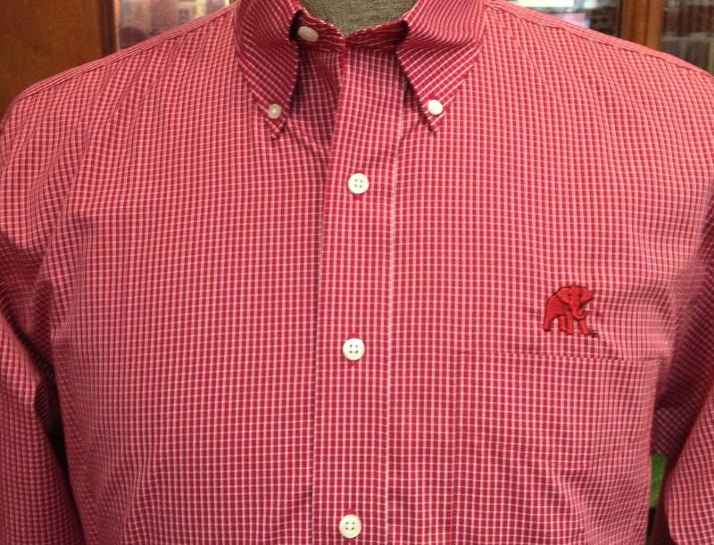 Wrinkle Free Crimson Graph Check with Elephant Wear Logo.