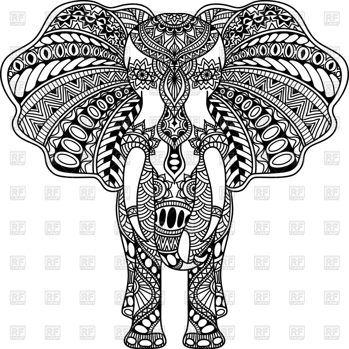 Henna Animals Coloring Pages : Elephant mandala clipart clipground