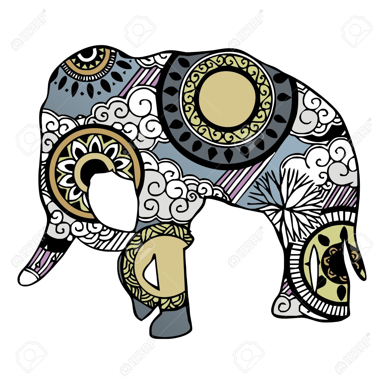 Elephant With Cloud And Rain Ornament Painting Royalty Free.