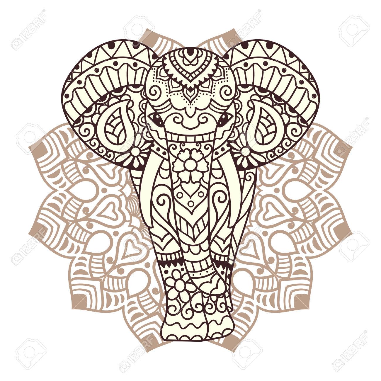 Elephant Mandala Clipart.