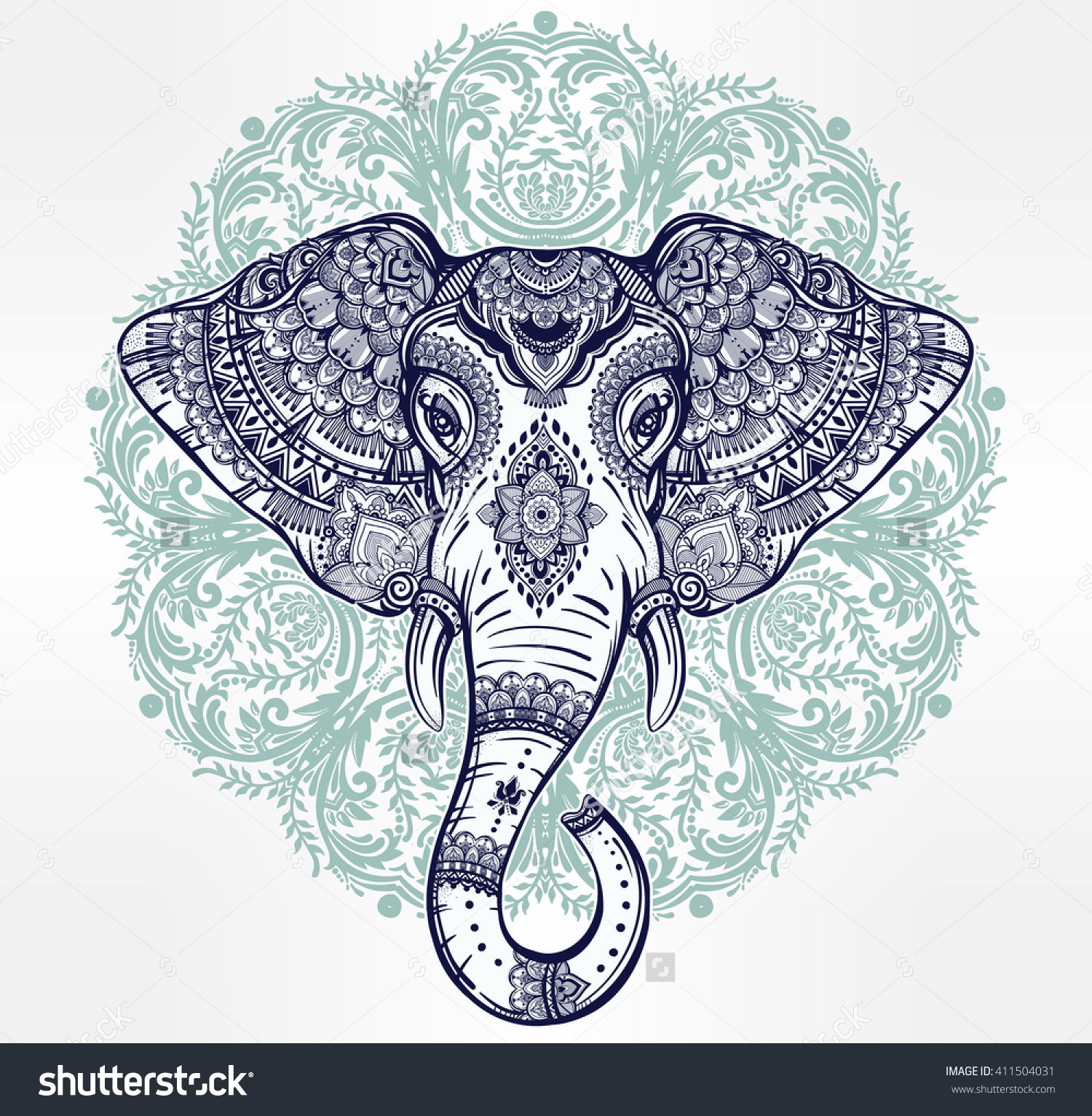 Vintage Mandala Vector Elephant Tribal Ornaments Stock Vector.