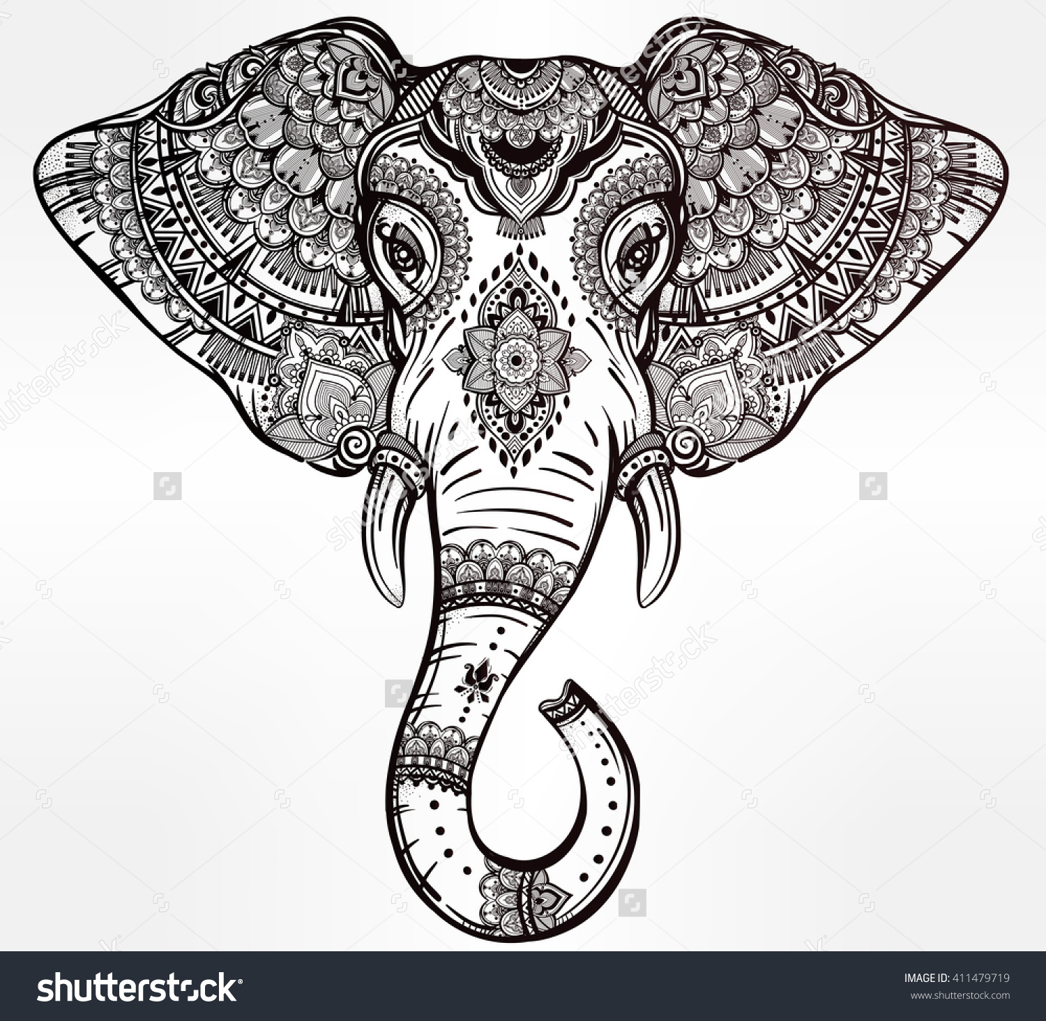 Vintage mandala vector elephant with tribal ornaments. Ideal.