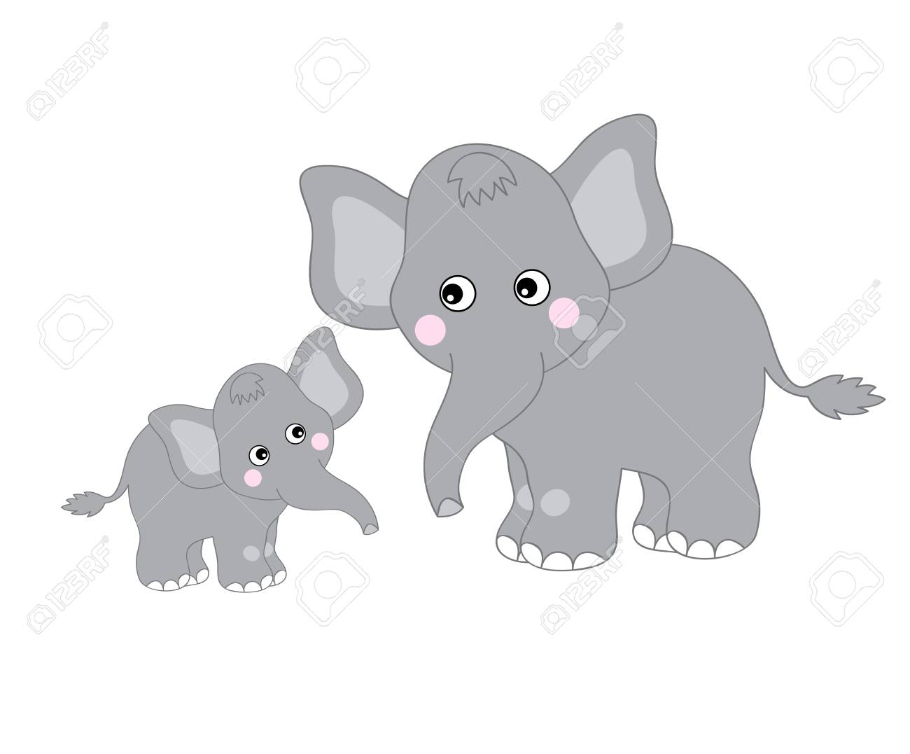 Vector cute cartoon elephants looking at each other. Vector mom...