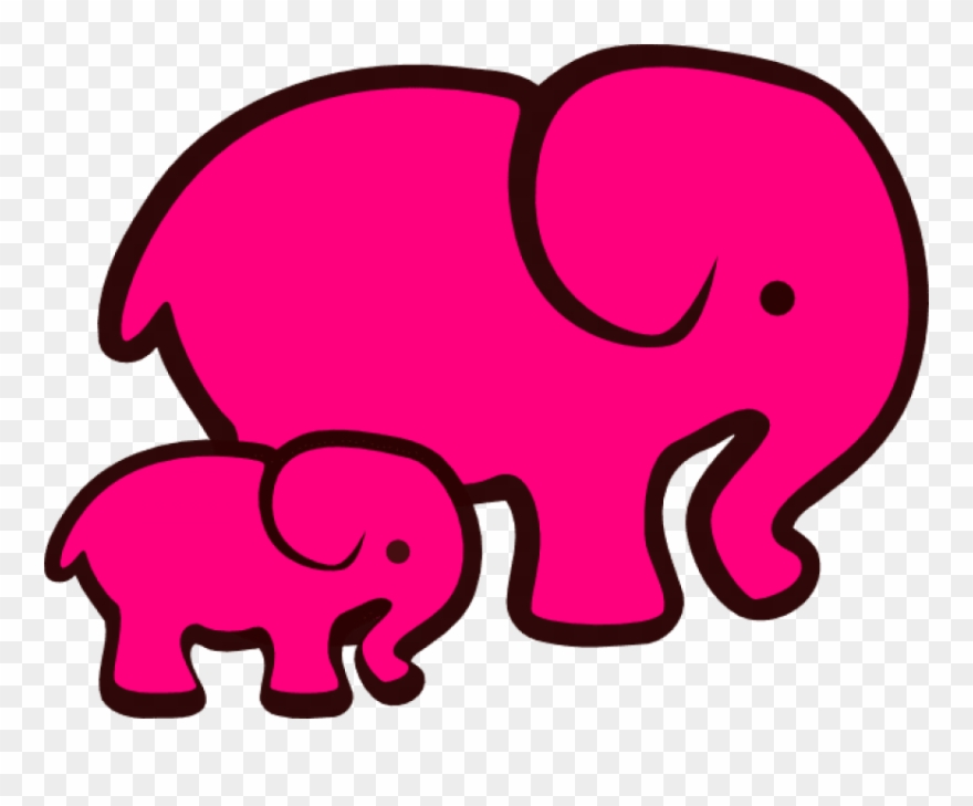 Elephants Mom And Baby Clipart.