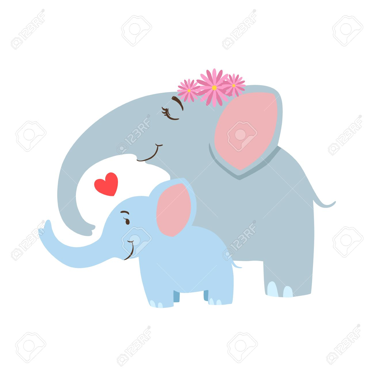 Elephant Mom With Frower Wreath Animal Parent And Its Baby Calf...