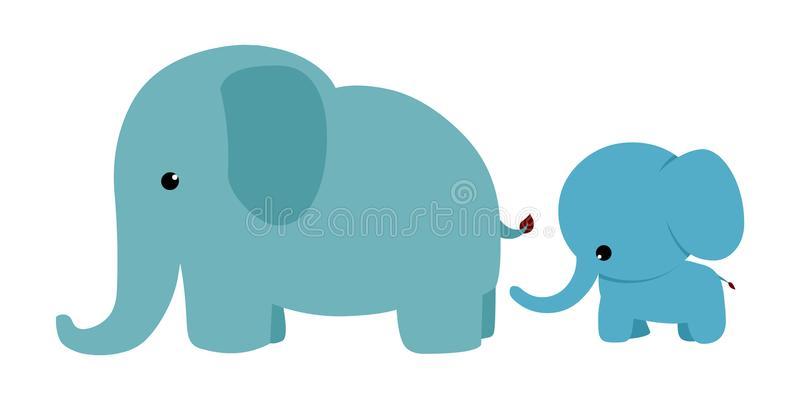 Baby Elephant Mom Stock Illustrations.