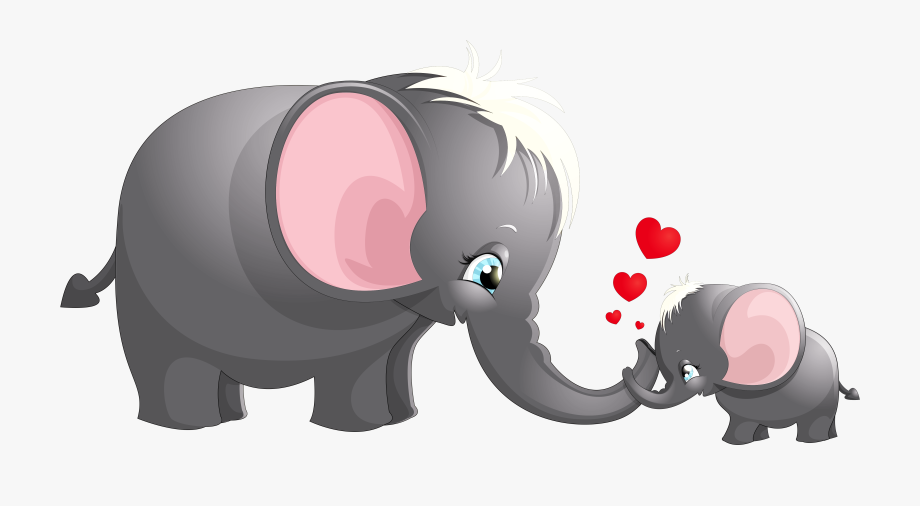 Transparent Cute Mom And Kid Elephant Cartoon Picture.