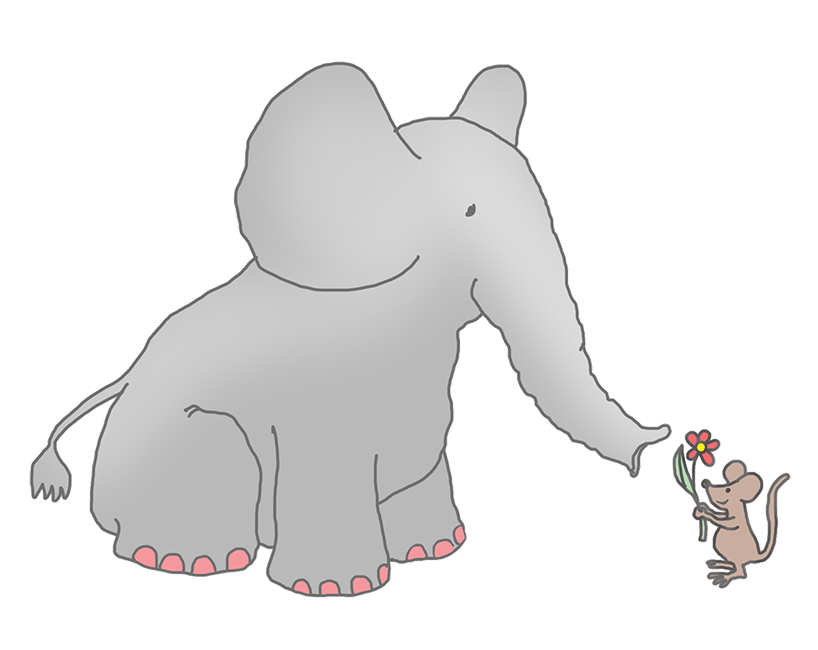 Elephant and mouse clipart.