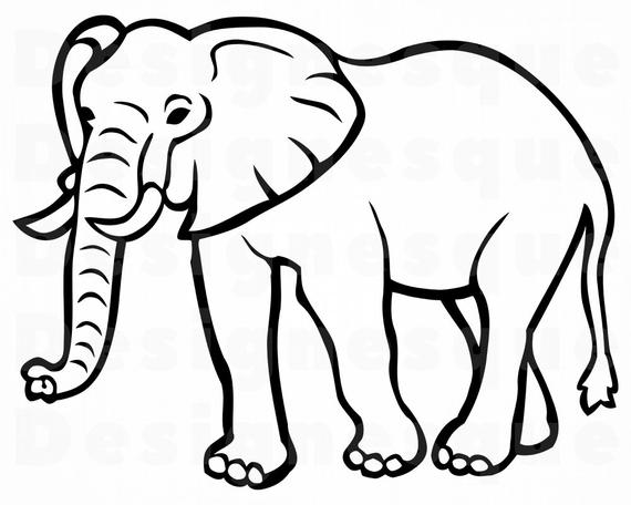 Elephant Outline SVG, Elephant SVG, Elephant Outline Clipart, Elephant  Outline Files for Cricut, Cut Files For Silhouette, Dxf, Png, Vector.