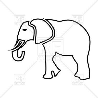 Elephant outline Vector Image.