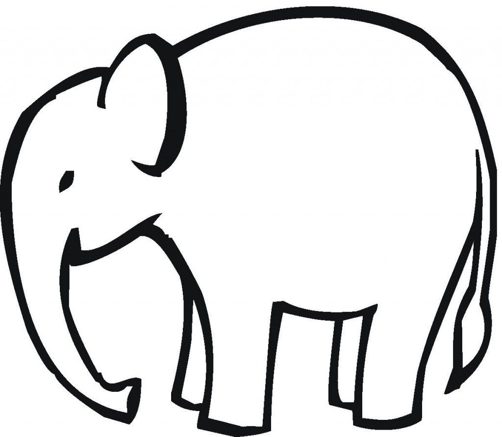 Simple Elephant Outline Applique Clipart Free Clip Art Images.