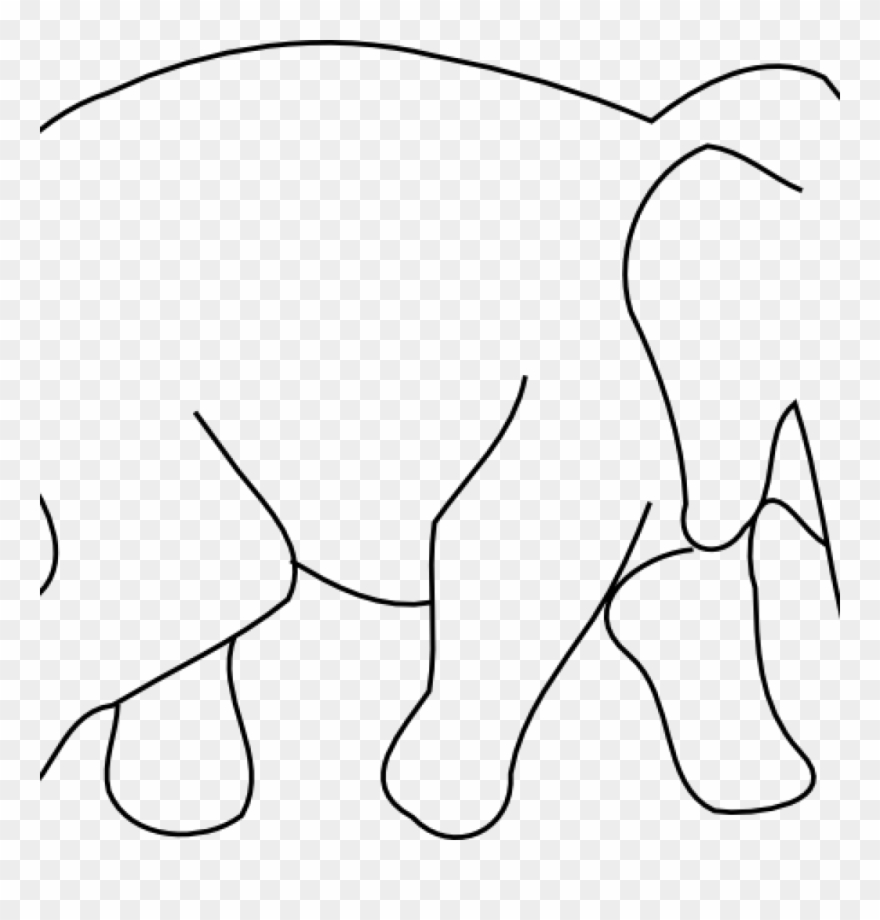 Elephant Outline Drawing Animal Drawings Clip Art Music.