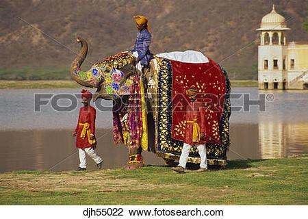 Stock Photo of India, Jaipur, Jal Mahal Lake Palace, Elephant.