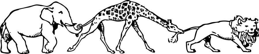 animal parade giraffe lion elephant.